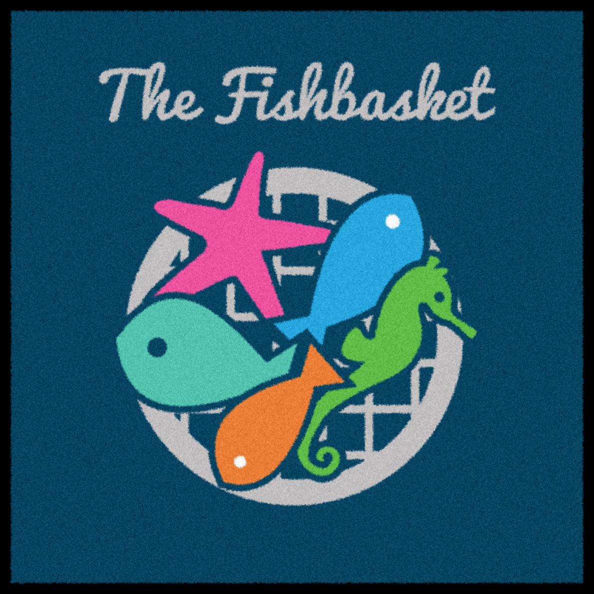 The Fishbasket restaurant logo mat.