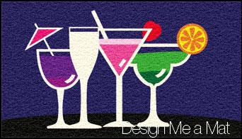 cocktail glasses door mat